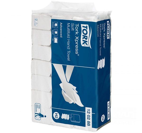 TORK ADVANCED H2 Papírtörölköző Z hajtogatott 2 rétegű 136 l / csomag fehér, szürke dombornyomással (120288)