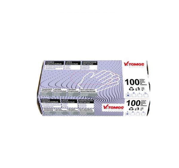 Porított latex kesztyű ToMos, 100db/csomag L