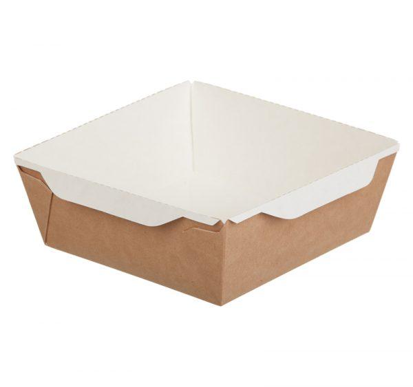 Papírdoboz ECO OpSalad 1200 ml átlátszó fedéllel 165х165х65mm, kraft  (150 db/csomag)