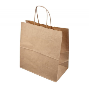 Papírzacskó 320х200х320mm kraft sodort fogantyúval/Paper package 320*200*320; kraft with wrapped handles (200 db/csomag)