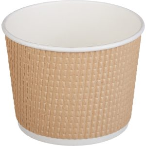 Papírdoboz Tambien ECO 520 ml d=110mm, h=84;5mm, hullámos kraft, szaggatott vonal/Ripple paper punctate container Tambien ECO 250ml d-110mm, h-84;5mm, kraft (25 db/csomag)