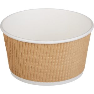 Papírdoboz Tambien ECO 720 ml d=135mm, h=68mm hullámos kraft, szaggatott vonal (25 db/csomag)