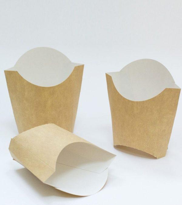 Sültkrumplis doboz kicsi 32х68х100mm, kraft/Box for French fries small 32*68*100mm, kraft (100 db/csomag)