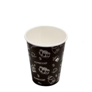 Pohár 300 ml papír Complement d=90 mm Black forró italok számára (50 db/csomag)