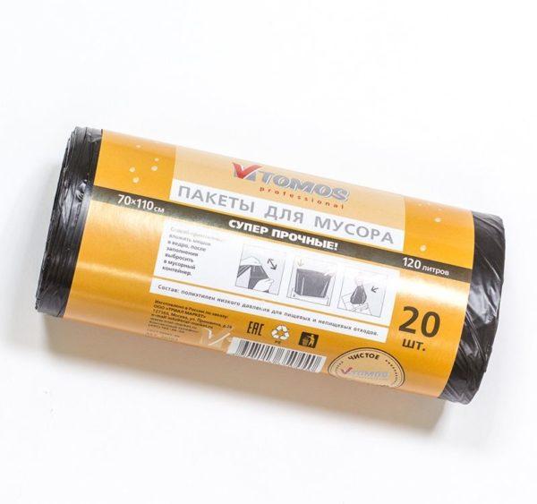 ToMoS szemetes zsák 120 l MDPE fekete (20 db/csomag)