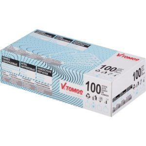 ToMoS nitril kesztyű púdermentes, kék, M, 100 db/csomag