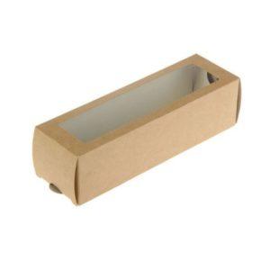 ECO MB 6 papír konténer ablakos, Macaron desszertekhez  180х55х55 mm (500 db/csomag)