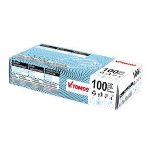 ToMoS vinil kesztyű púdermentes, kék, L, 100 db/csomag