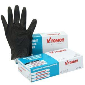 ToMoS vinil kesztyű púdermentes, fekete, L, 100 db/csomag