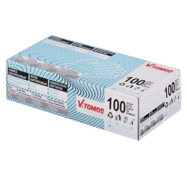 ToMoS nitril kesztyű púdermentes, kék, S, 100 db/csomag