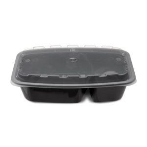 PP TaMbien kétszekciós konténer, fekete fedéllel, 211х146х51мм 850 ml (150 db/csomag)