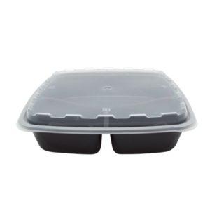 PP TaMbien háromszekciós konténer, fekete fedéllel, 228х228х51 mm 1400 ml (100 db/csomag)