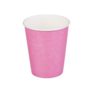 Papírpohár 1 rétegű, rózsaszín, forró italokhoz 250 (50 db/csomag)