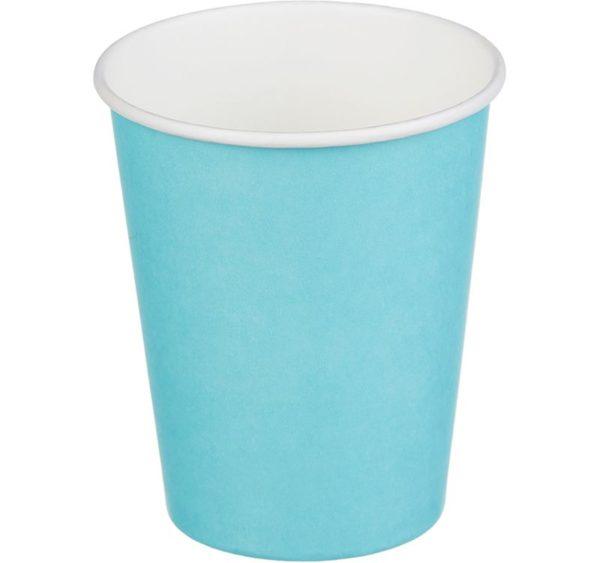 Papírpohár 1 rétegű, türkiz szín, forró italokhoz 250 (50 db/csomag)