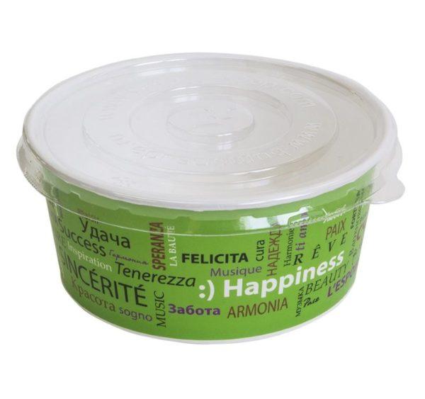 PS d=150 mm-es műanyag fedél 750 ml-es papír salátás tálhoz, lapos (100 db/csomag)