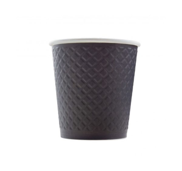 Waffle papírpohár 2 rétegű nyomott mintával, fekete 250 (25 db/csomag)