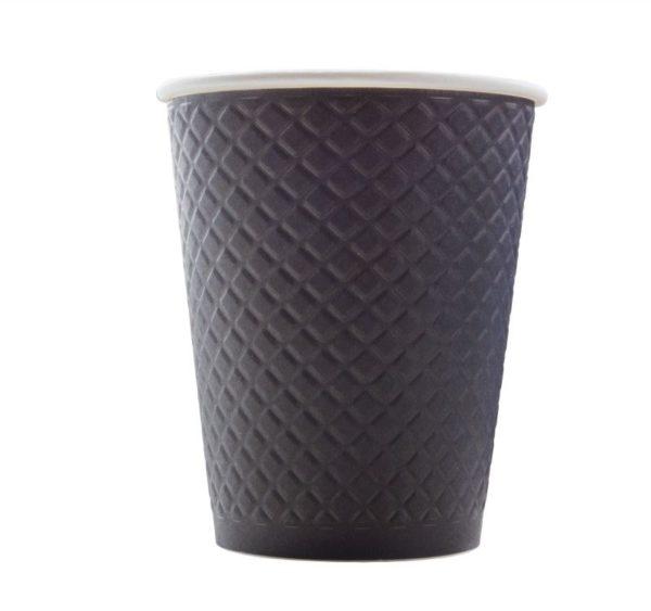 Waffle papírpohár 2 rétegű nyomott mintával, fekete 300 (25 db/csomag)