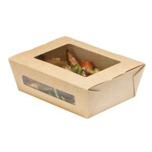DUOBOX papír konténer, ablakos, kraft 600 ml 150x115x50 mm (200 db/csomag)