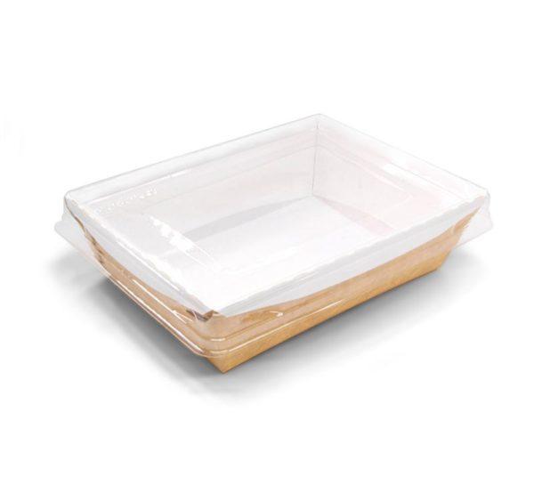 Crystal Box papír konténer átlátszó fedéllel, kraft 500 ml 160х120х45 mm  (200 db/csomag)