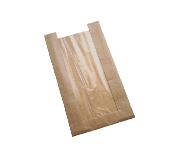 Papírzacskó 170(110)х80х200 mm ablakos, kraft (1500 db/csomag)