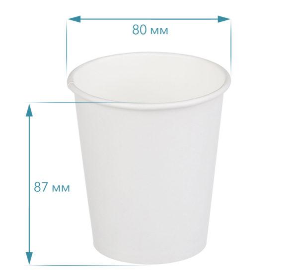 Pohár 250(275) ml papír d=80 mm fehér forró italok számára (50 db/csomag)