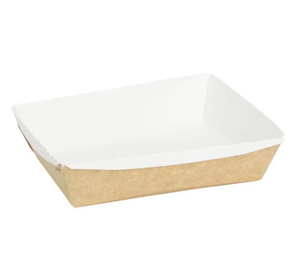 Crystal Box papír konténer átlátszó fedéllel, 400 ml, 140x100x45mm, Kraft (250 db/csomag)