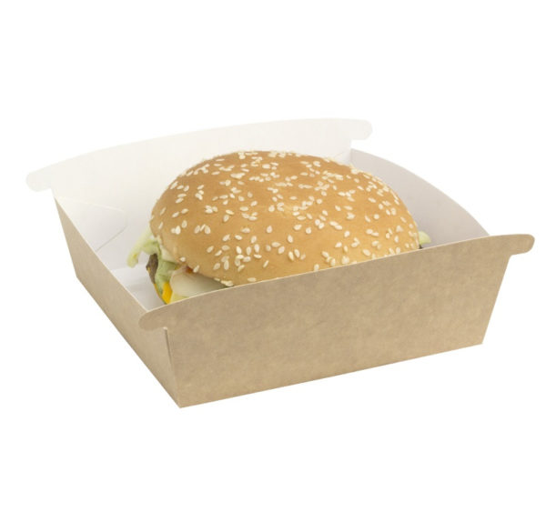 Hamburgeres doboz Combi Box, kraft 120x120x70 mm (50 db/csomag)