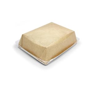 Papírdoboz átlátszó fedéllel salátához és meleg ételekhez Crystal Box 180x140x45 mm 800 ml, kézműves (40 db/csomag)