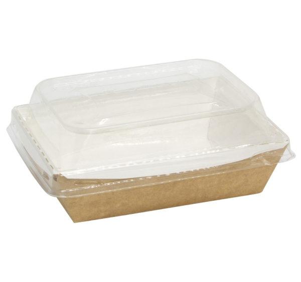 Posoda papirna Crystal Box 500 ml s pokrovom kupola 160x120x45 mm, Kraft (50 db/csomag)
