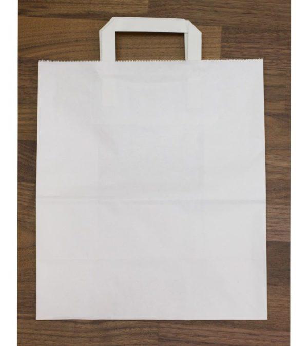 Papírzacskó 240x140x280 mm feher egyenes fogantyuval (300 db/csomag)