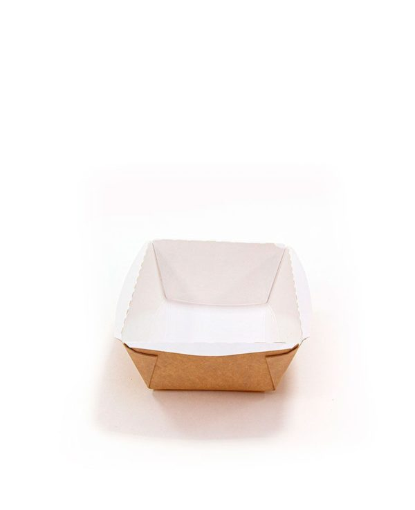 Crystal Box papír konténer átlátszó fedéllel 400ml 100x140x70 mm, Kraft (400 db/csomag)