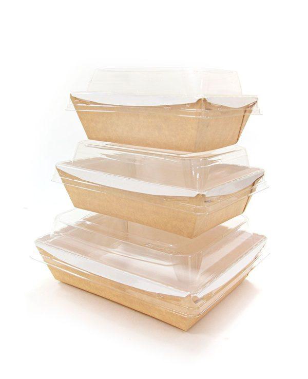 Crystal Box papír konténer átlátszó fedéllel 800ml 140x180x70 mm, Kraft, Kraft (160 db/csomag)