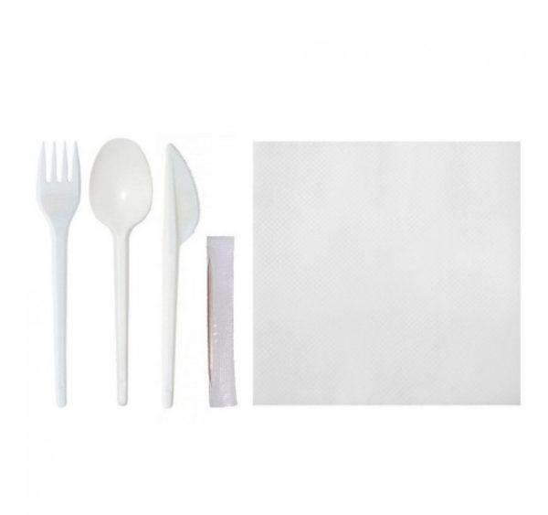 Étkészlet  5: kés, kanál, villa, fogpiszkáló, szalvéta (150 db/csomag)