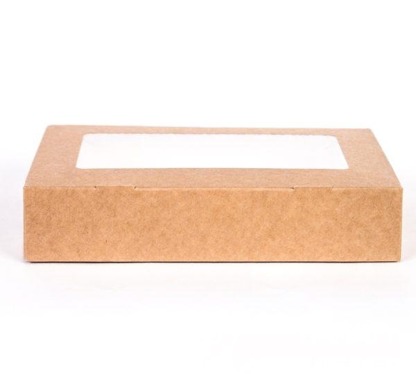 Papirnata posodica z oknom ECO TABOX  200x120x40 mm  1000 ml kraft (200 db/csomag)