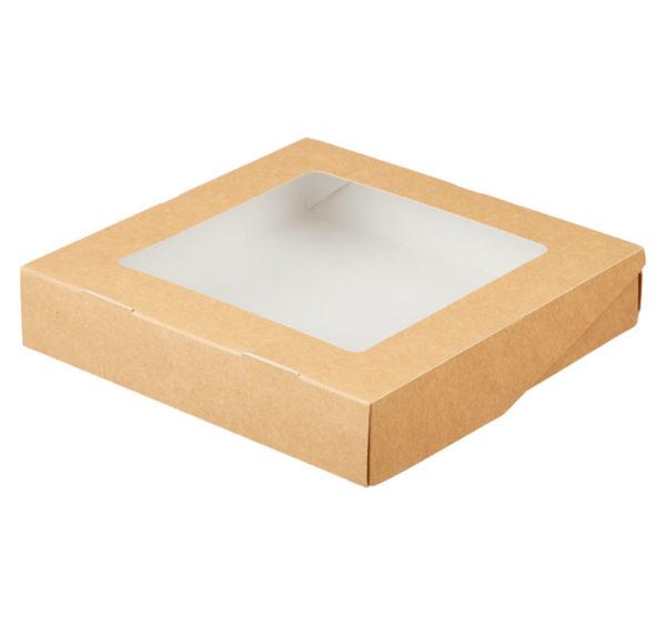 Papír doboz ablakos ECO TABOX 200x200x40 mm 1500 ml kraft (25 db/csomag)
