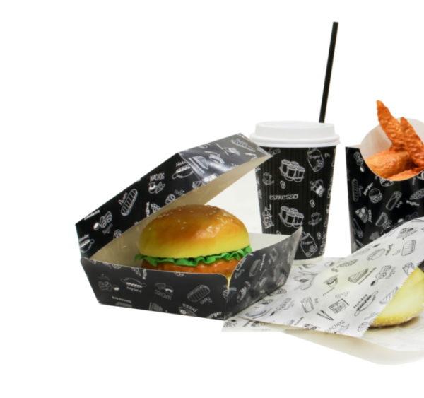 Hamburgeres doboz Complement Black 120х120х70 mm (300 db/csomag)