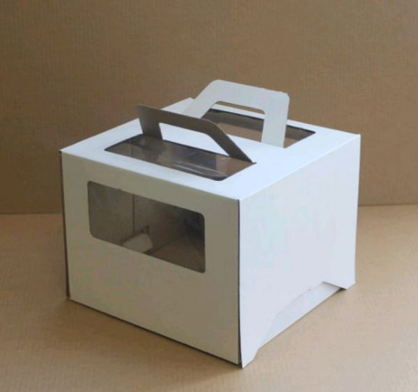 Škatla za torto z oknom, z ročaji 260x260x200 mm mikro valovit karton bela (25 db/csomag)