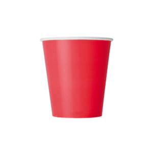 Papírpohár 1 rétegű 250 ml d=80 mm piros (50 db/csomag)