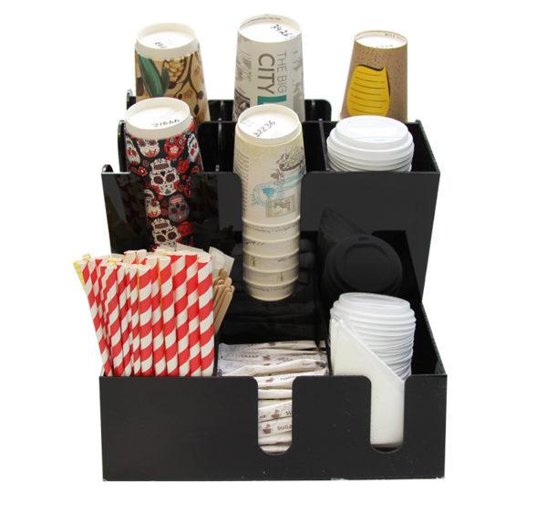 Állvány 3 szekcióval poharak számára és 6 szekcióval tartozékok számára (7002A-B)