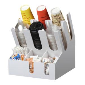 Állvány 3 szekcióval poharak számára és 6 szekcióval tartozékok számára (7002A-W)